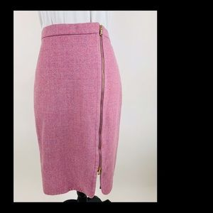 J.CREW Pink WOOL Exposed Zipper Skirt Lined Sz 10